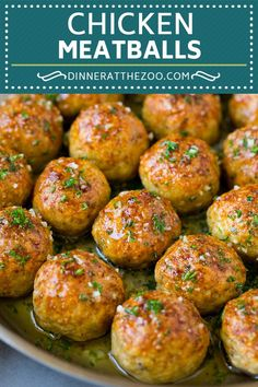 The best chicken meatballs baked until golden brown and flavored with garlic, herbs and spices. These meatballs are great served as an appetizer, or over a big plate of spaghetti. Turkey Recipes, Meat Recipes, Healthy Dinner Recipes, Cooking Recipes, Healthy Ground Chicken Recipes, Healthy Meals, Barbecue Recipes, Potato Recipes, Cooking Ideas