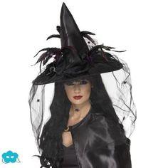 Sombrero de bruja con velo negro