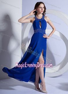 Criss Crossed Back Slit Beading Ankle-length Royal Blue Evening Gown