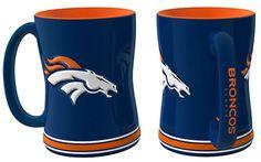 Denver Broncos Coffee Mug - 14oz Sculpted Relief - Blue