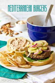 Mediterranean Burgers | ASpicyPerspective.com #burgers #hamburgers #summer