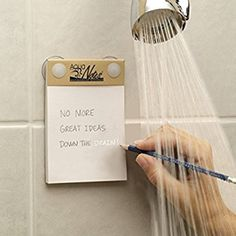 "I think this is a must-have item for every writer: ""Aqua Notes Waterproof Notepad.because you think of random, amazing stuff in the shower and then get out and forget it."
