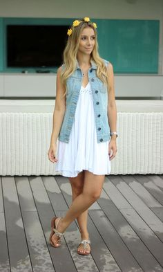 Look Colete Jeans: Vestido