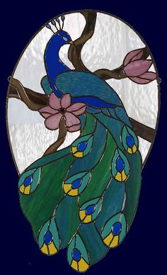 Stained Glass Peacock Panel by AGlassMenagerieEtc on Etsy