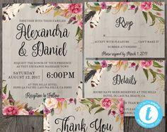 Floral Bohemian Wedding Invitation Template Set + RSVP + Details + Bonus Thank You Card - Instant Download - Edit in Our Web App - Boho Chic