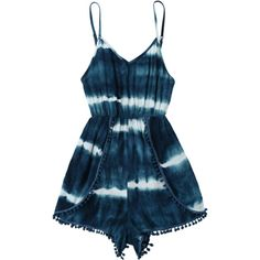 Cami Tie-Dyed Pom Dolphin Cover Up Romper ($20) ❤ liked on Polyvore featuring jumpsuits, rompers, blue rompers, blue tie dye romper, pom pom romper, blue camisole and tie-dye rompers