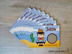 Invitation anniversaire garçon enfant, cartes par lot de 8, cartes à gratter Cowboy : Autres papeterie par cashemir