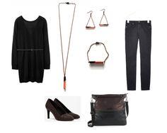 mein LOOK - Kupfer/Schwarz Metallicpullover - COS Jeans - COS braune Lederpumps - COS Tote Bag - Esprit Schmuck - SOMMERform