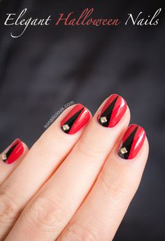 Elegant Halloween Nails. Click for a step-by-step tutorial. #halloween2013 #halloweennails