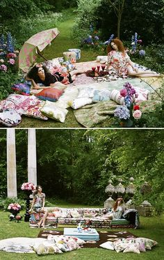 Tea Parties -I'd like a tea party like this...then again I'd love just all the colorful quilts and pillows to throw about the garden too :)
