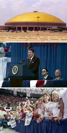 Grand opening of Baylor's Ferrell Center, with guest of honor President Ronald Reagan.
