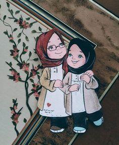 İslamic anime ve tesettür. Cartoon Drawings, Cartoon Art, Hijab Drawing, Islamic Cartoon, Anime Muslim, Hijab Cartoon, New Baby Cards, Cute Friends, Mode Hijab