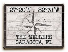 Where in Florida do you live or vacation? Get your Latitude - Longitude Coordinates as a sign!