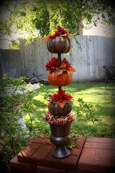 Dollar store pumpkin topiary