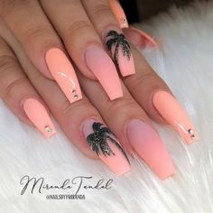 Exciting Summer nail art for you to get into the vacation mode. - Exciting Summer nail art for you to get into the vacation mode. I am sure these summer nail designs will make you ready for your summer parties and trips. Summer Acrylic Nails, Best Acrylic Nails, Nail Summer, Summer Vacation Nails, Summer Nails Almond, Coffin Nails Matte, Stiletto Nails, Polygel Nails, Pink Coffin