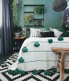 Green walls, green rooms, bedroom green, bedroom inspo, home bedroo Bedroom Inspo, Home Decor Bedroom, Living Room Decor, Bedroom Ideas, Diy Bedroom, Bedroom Small, Bed Ideas, Bedroom Designs, Bedroom 2018