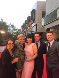 The full Miss Fisher team on the red carpet! Producers Deb Cox & Fiona Eagger, Essie Davis, Nathan Page & Hugo Johnstone-Burt — with Deb Cox, Fiona Eagger, Essie Davis and Nathan Page at Crown Melbourne ~ Logie Awards