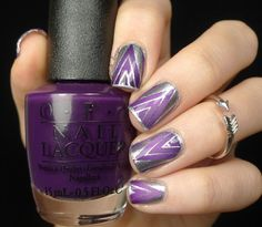 Products:  Liquid Palisade O.P.I 'purple palazzo pants' and 'o Suzi mio' MoYou London 'Holy Shapes #03'