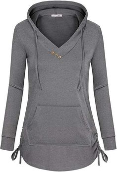 Messic Women's Long Sleeve Tunic Hoodies Casual Pullover Sweatshirt with Drawstring Grey Coats For Women, Sport Fashion, Womens Fashion, Casual Outfits, Cute Outfits, Fashion Sewing, Casual Tops, Fashion Dresses, Clothes For Women