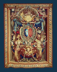 Armorial wall hanging of Louis XIV of France by Manufacture Nationale des Gobelins, late 17th century (PD-art/old), Muzeum Uniwersytetu Jagiellońskiego (MUJ)