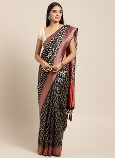 Sareetag Black  Designer Classic Party Wear Saree Tussar Silk Saree, Art Silk Sarees, Chiffon Saree, Bridal Sarees Online, Trendy Sarees, Embroidered Clothes, Traditional Sarees, Indian Fashion, Man Fashion