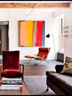 New Living Room Art Abstract Colour Ideas Living Room Red, Living Room Paint, Living Room Colors, Living Room Decor, Paintings In Living Room, Red Home Decor, Deco Design, Living Room Modern, Home Remodeling