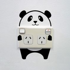 Panda wall sticker for power points - Super cute panda wall sticker for creative power points and light switches! Please note, our range of stickers for power points is created with adults and older children in mind. Do not use on low-level sockets within reach of younger, unsupervised children. FAQ 1) On which surfaces can I apply my Vinyl Design wall sticker? You can apply your sticker on any clean, smooth surface like walls, doors, windows, also on timber floor, tables or mirrors…