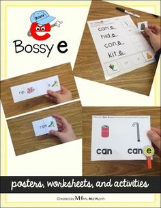 Bossy E posters, worksheets, and activities. Perfect literacy center activity.