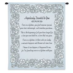 Hopelessly Devoted To You Art Tapestry Wall Hanging, Silver Anniversary