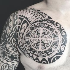 Polynesian chest piece on my client who is already got sleeve by me year ago.