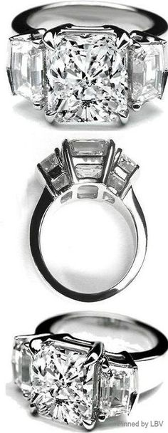 Large Cushion Cut Diamond Engagement Ring Cadillac Step cut Side Stones | LBV ♥✤