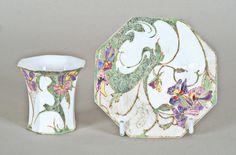 A Rozenburg Art Nouveau egg shell porcelain cup and saucer