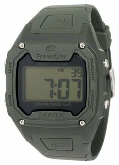 Freestyle Men's FS84974 Killer Shark Classic Oversized Retro Television Screen Case Digital Watch Freestyle. $54.00. Japanese Digital-Quartz-movement, 24 city world time function, local time, day, date, 2 alarms, heat timer, chronograph, night vision backlight. Water-resistant to 330 feet (100 M). Highly shock-resistant polycarbonate watch case. Polyurethane strap with adjustable buckle. Limited lifetime warranty (till death do us part). Save 10%!