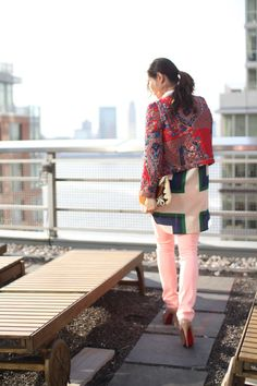 Mama Wore: Top by Celine/Denim by AG/Jacket by Claudie Pierlot/Shoes by Christian Louboutin/Bag is Vintage Pucci