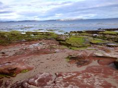 red rock tidal pools on the beach in Nairn, Scotland.