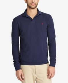 Polo Ralph Lauren Men's Big & Tall Classic-Fit Weathered Long-Sleeve Polo - Blue 3LT