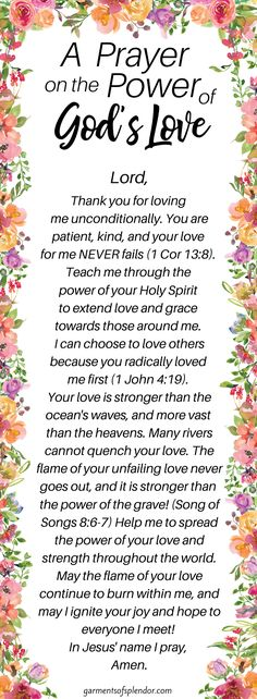 A Prayer on the Power of God's love - Prayers for Strength - God's love is amazing! Use this prayer to contemplate on the goodness of God's love, and downlo - Good Prayers, Prayers For Strength, Prayers For Healing, Bible Prayers, Spiritual Prayers, Powerful Prayers, Spiritual Life, Love Scriptures, Verses About Love
