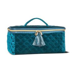 Sonia Kashuk Large Train Case Travel Makeup Bag Quilted Velvet