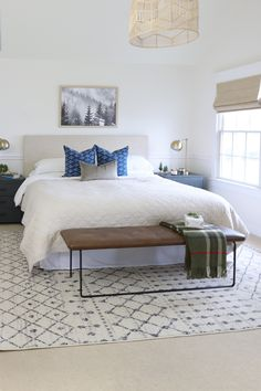 All of the planning for my navy + green holiday bedroom has finally paid off! Today is the day I get to share this makeover as a part of Seasons of Home. Interior Design Inspiration, Home Decor Inspiration, Design Ideas, Bedroom Furniture, Bedroom Decor, Furniture Ideas, Master Bedroom, Hamptons Bedroom, Blogger Home