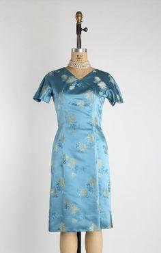 Blue Silk Dress . 1950s Asian Wiggle Dress by VeraVague