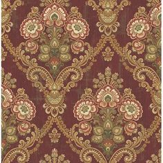 Astoria Grand Thibeault Framed Imperial Bouquet L x W Wallpaper Roll Colour: Gold/Red/Green