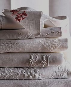 antique linens; ticking and toile