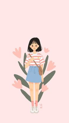 Cute Art Styles, Cartoon Art Styles, Japon Illustration, Cute Illustration, Cute Wallpaper Backgrounds, Cute Cartoon Wallpapers, Graphic Wallpaper, Dibujos Cute, Digital Art Girl