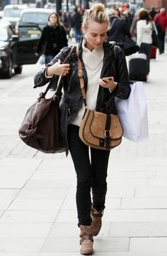 White jumper with draped neckline + black leather jacket and skinny jeans + brown accessories