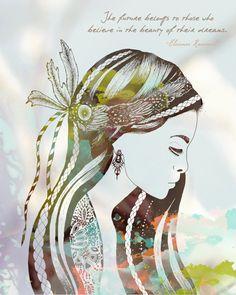 Boho Girl Art Print- 8x10, Eleanor Roosevelt Quote, Bohemian, Free Spirit. $20.00, via Etsy.