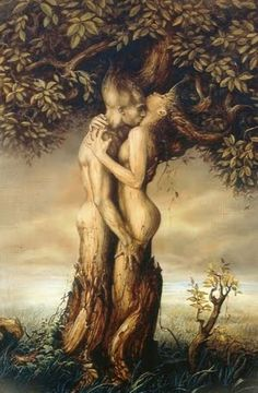 Although this website contributes image to the Slavic god, Veles, the artistic rendition seems far more fitting to the Norse creation of man and woman from trees. Askr and Embla.