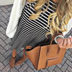 stripe dress and a easy cardigan