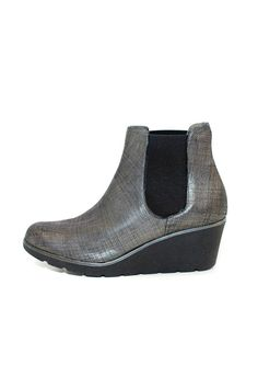 Grey metallic look ankle boot with a wedged heel and double elasticated sides.      Heel height: 6cm    Hand made in Italy  Leather upper and leather lined  Synthetic sole    Suede Metallic-Look Wedge by Lady Doc. Shoes - Wedges South Australia Australia