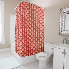 Daruma Japanese Pattern Shower Curtain - shower gifts diy customize creative