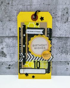 Yellow birthday tag:-) Lots of scraps + straw, button, dots, washi tape, dicut and stickers. Birthday Tags, Happy Birthday Wishes, Yellow Birthday, Studio Calico, Washi Tape, Scrap, Dots, Stickers, Button